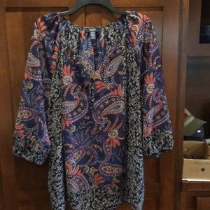Extra large blue paisley Chaps tunic top